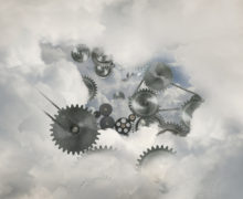 Metal cogs in clouds
