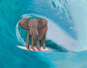 L'opera 'elefante surfista' di Martin Resende
